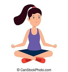 happy athletic girl practicing yoga