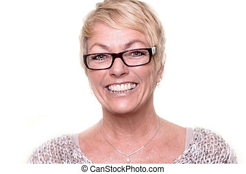 Happy attractive blond woman wearing glasses