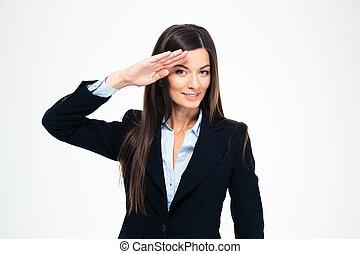 Happy attractive businesswoman saluting