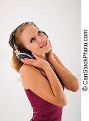 happy attractive girl in headphones