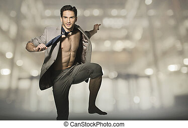 Happy attractive man in jump pose