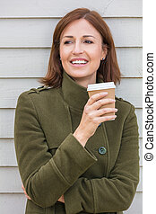 Happy Attractive Middle Aged Woman Smiling Drinking Coffee