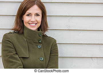 Happy Attractive Middle Aged Woman Smiling