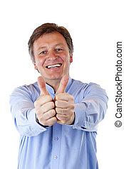 Happy, attractive senior man shows both thumb and smiles