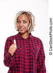 Happy attractive young african american woman showing thumbs up