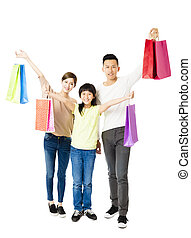 Happy Attractive Young  Family with shopping bags