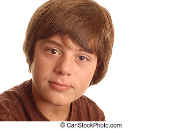 happy attractive young teen boy with big brown eyes