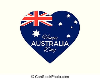 Happy Australia day, 26th january. Heart with the flag of Australia. Vector illustration
