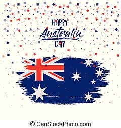 happy australia day flag poster with colorful confetti background