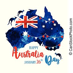 Happy Australia day lettering. Map of Australia with flag on a blue blots hand drawn background. Vector illustration