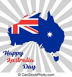 Happy Australia day lettering. Map of Australia with flag on a rays background