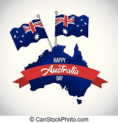 happy australia day map of australia