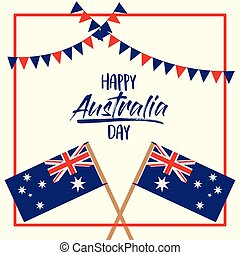 happy australia day poster with crossed flags australia over red frame with festoons on white background