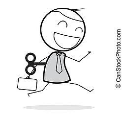 happy automation businessman