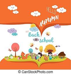 happy autumn. Autumn season background with animals