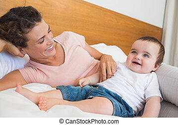 Happy baby and mother