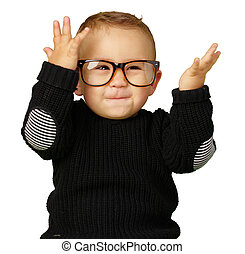 Happy Baby Boy Wearing Eye Glasses Isolated On White...