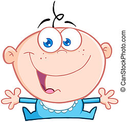 Happy Baby Boy With Open Arms Cartoon Character