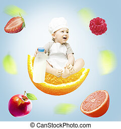 Happy baby chef and milk bottle isolated with clipping path