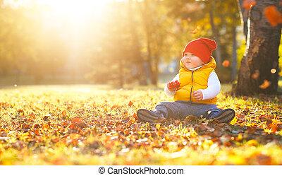 happy baby child boy   on autumn walk