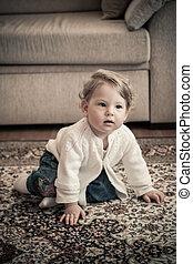 Happy Baby Girl at Home Crawling
