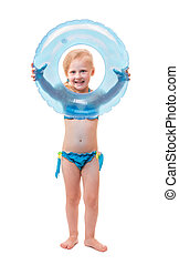 Happy baby girl in swimsuit with circle isolated on white