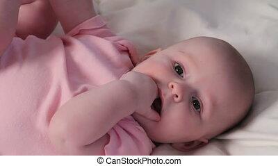 Happy Baby Girl Teething