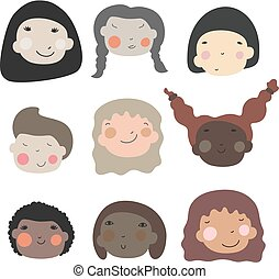 Happy baby girls faces. Cartoon vector illustration. Group of diversity women with different skin color