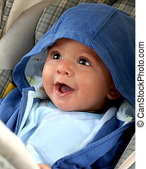 Happy Baby - Happy four-month-old baby in his storller ...
