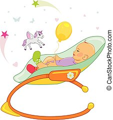Happy baby in a rocking chair. Vector illustration