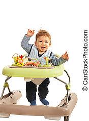 Happy baby in baby walker - Happy baby walking in baby...