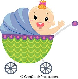 Happy Baby In Carriage