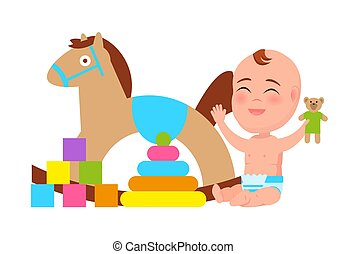 Happy Baby Play with Rocking Horse, Color Blocks