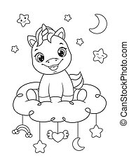 Happy baby unicorn Coloring Page
