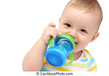 baby with milk bottle - happy baby with milk bottle