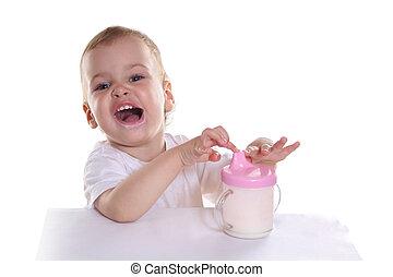 happy baby with milk