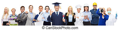 happy bachelor with diploma over professionals - people, ...