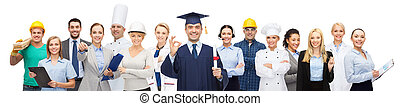 people, profession, education, gesture and success concept - happy bachelor with diploma showing ok sign over different workers behind
