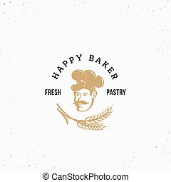 Happy Baker Premium Vector Pastry Emblem, Sign or Logo Template. Chef in a Cook Hat Silhouette with Spica and Retro Typography.