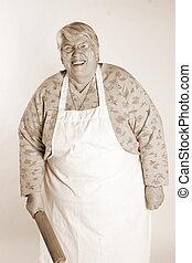happy baking grandmother sepia