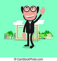 Happy Bald Head Teacher With Education Concept Vector Illustration