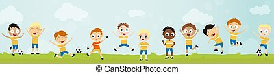 happy ball playing kids - football team with 11 players