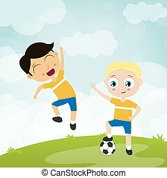 happy ball playing kids - two football players