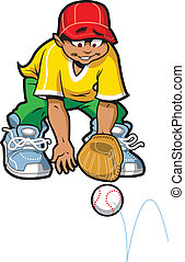 Happy Baseball Softball Outfielder Getting Ready to Catch a Ground Ball