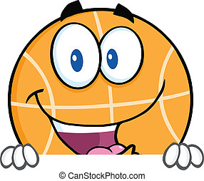Happy Basketball Over Blank Sign