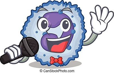 Happy basophil cell singing on a microphone. Vector ...