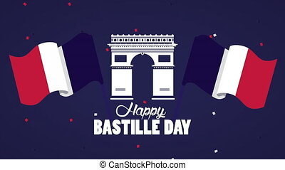 happy bastille day celebration with Arch of Triumph ,4k ...