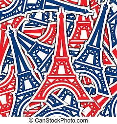 Happy Bastille Day! - Eiffel Tower sticker card in vector...