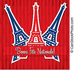 Happy Bastille Day! - Eiffel tower sticker Bastille Day card...