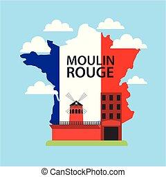 happy bastille day france cabaret built moulin rouge france map vector illustration